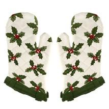 Mistletoe Mittens Kitchen Pair Cotton White Floral Indian 13X6 Inches - $13.49