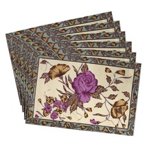Tea Placemats Set of 6 Indian Summer Decorations Floral Cotton Washable - £18.94 GBP