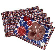 Indian Tea Placemats Set of 6 Floral Cotton Washable Summer Decor - £18.94 GBP