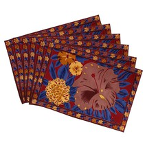 Indian Tea Placemats Set of 6 Spring Decorations Floral Cotton Washable - £18.94 GBP