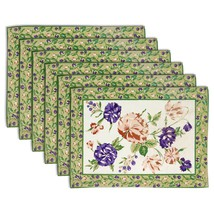 Tea mats White set of 6 100% cotton Floral Pistachio Green Fast color Wa... - £18.94 GBP
