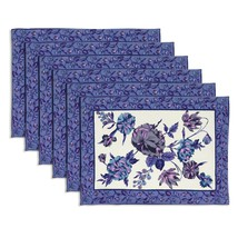 Tea mats Purple set of 6 100% cotton Multicolor Floral designs Fast Wash... - £18.94 GBP