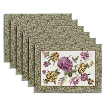 Tea mats White set of 6 100% cotton Floral designs Multicolor Fast Washable - £18.94 GBP