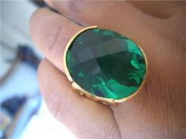 BIG 23X18MM AMAZING GREEN EMERALD FILIGREE RING avlb - $60.00