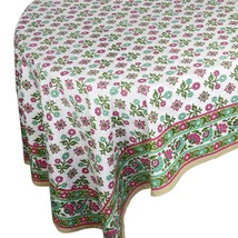 Indian Decor Linen Tablecloth Rectangular Flora... - $35.23