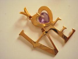 New rare Jewelry Free Heart Natural Genuine Amethyst Pendant Love Gold P... - $15.00