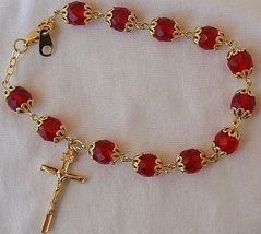 Red  beads bracelet rosary thumb200