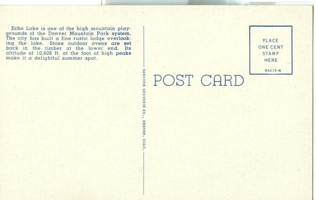Scene at Echo Lake, Denver, Colorado, 1920s-1930s unused Postcard