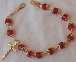 Red  beads bracelet rosary 2 thumb200