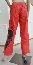 New Crystal Rock Christian Audigier Hippie Wide Leg Jeans Pants Sz 27 4 Red - $44.50