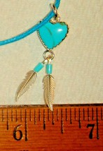 VTG 925 STERLING SILVER TURQUOISE FEATHER HEART NECKLACE DANGLE DROP EAR... - $237.99