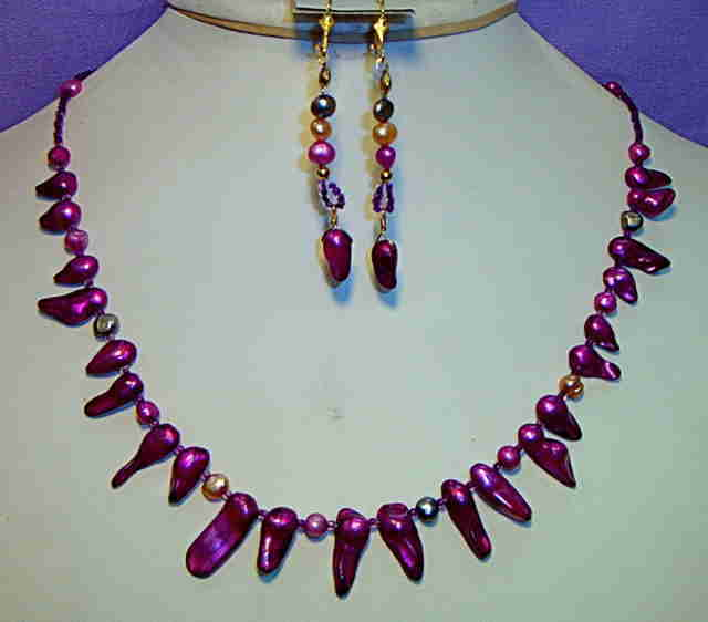 Necklace set, Trendy Purple Pearls #8-9M5477, Free Ship