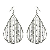Large Dangle Earrings Teardrop Beaded Artisan Crafted Costume Jewelry - $14.62