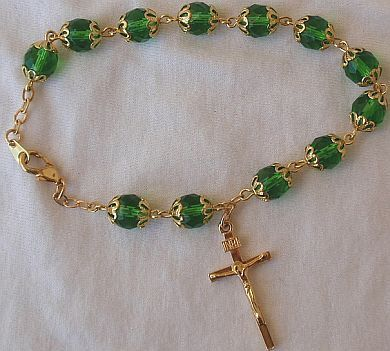 Rosary Bracelet   Green gass beads with golden cross