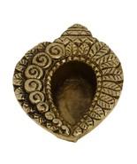 Brass, Handmade Oil Lamp, Diwali Diya, Small Conch Shell, 2.75 inch - $21.94