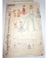 Vintage Simplicity Doll Barbie Size Wardrobe #4510 1960's - $5.99