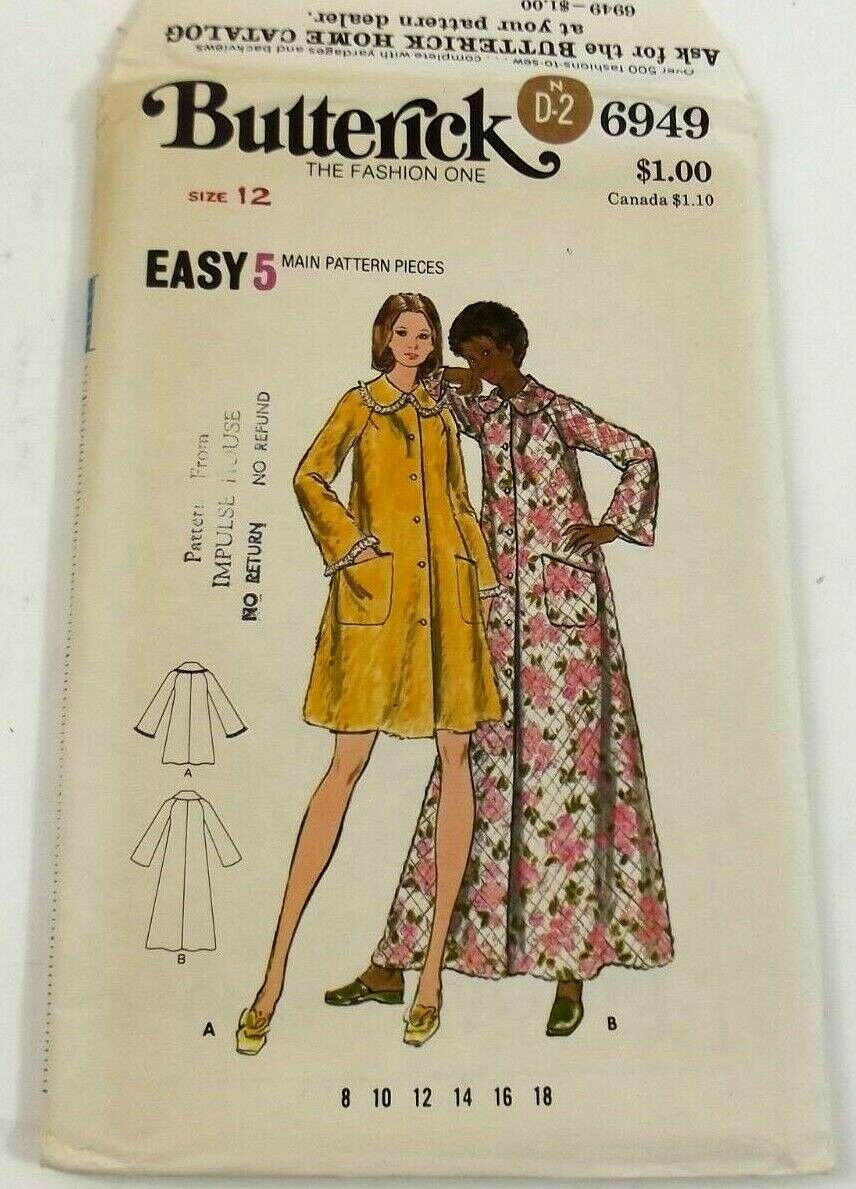 Butterick 6949 Sewing Pattern Misses Robe Size 12 Uncut Vintage With Instruction