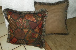 Pair Beige Burgundy Green Abstract Print Throw Pillows  18 x 18 - $59.95