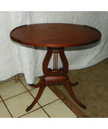 Oval Mahogany Lyre Base End Table / Side Table  (T388) - $299.00