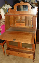 Quartersawn Oak Carved Sheboygan Drop Front Desk  (DR36) - $1,195.00