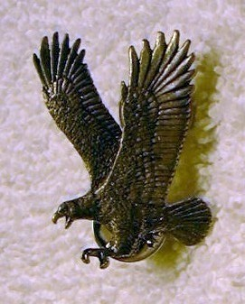 j49 Large Pewter Eagle Double Pin Back Tie Tac Signed