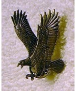 j49 Large Pewter Eagle Double Pin Back Tie Tac Signed  - $4.98