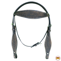 Hilason Western Horse Headstall Bridle American Leather Black Rustic U-O-HS - $64.30