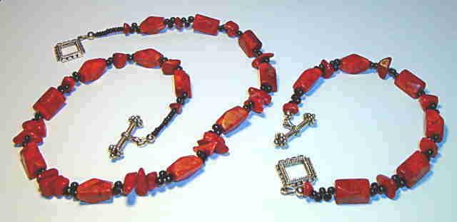 Necklace/Bracelet set, Sponge Coral #8-8M5451, Free Ship