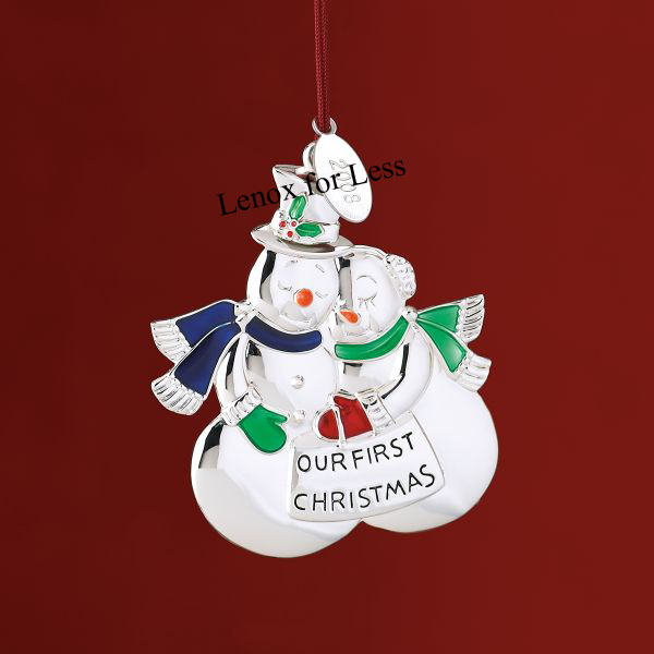 Lenox 2008 our first christmas snow couple ornament tag