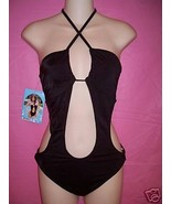 Skinny Dip Halter One Piece Swimsuit Swimwear with Cutouts: Large - $31.95