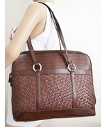 Free Ship Weaved Leather Tote Coldwater Creek Organizer Briefcase Faux R... - $32.99