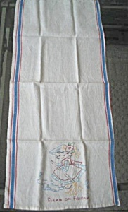 Vintage Embroidered Linen Kitchen Dish Towel Clean On Friday