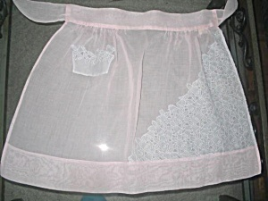 Vintage Pink Organdy Apron Pretty Cutwork Applique Lace Overlay
