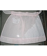 Vintage Pink Organdy Apron Pretty Cutwork Applique Lace Overlay - $16.00