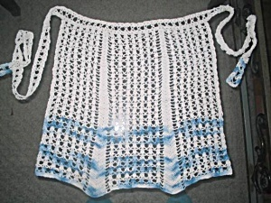 Vintage Crochet Half Apron Two Tone Blue & White Hand Made