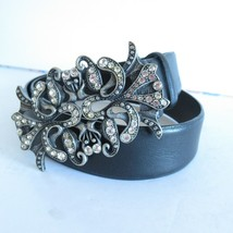 Express Leather Belt S Small Black Silver Rhinestone Buckle  - $18.69