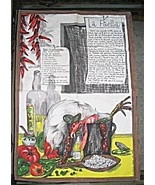 Vintage French Paella Recipe Kitchen Towel Made In France  - $20.00