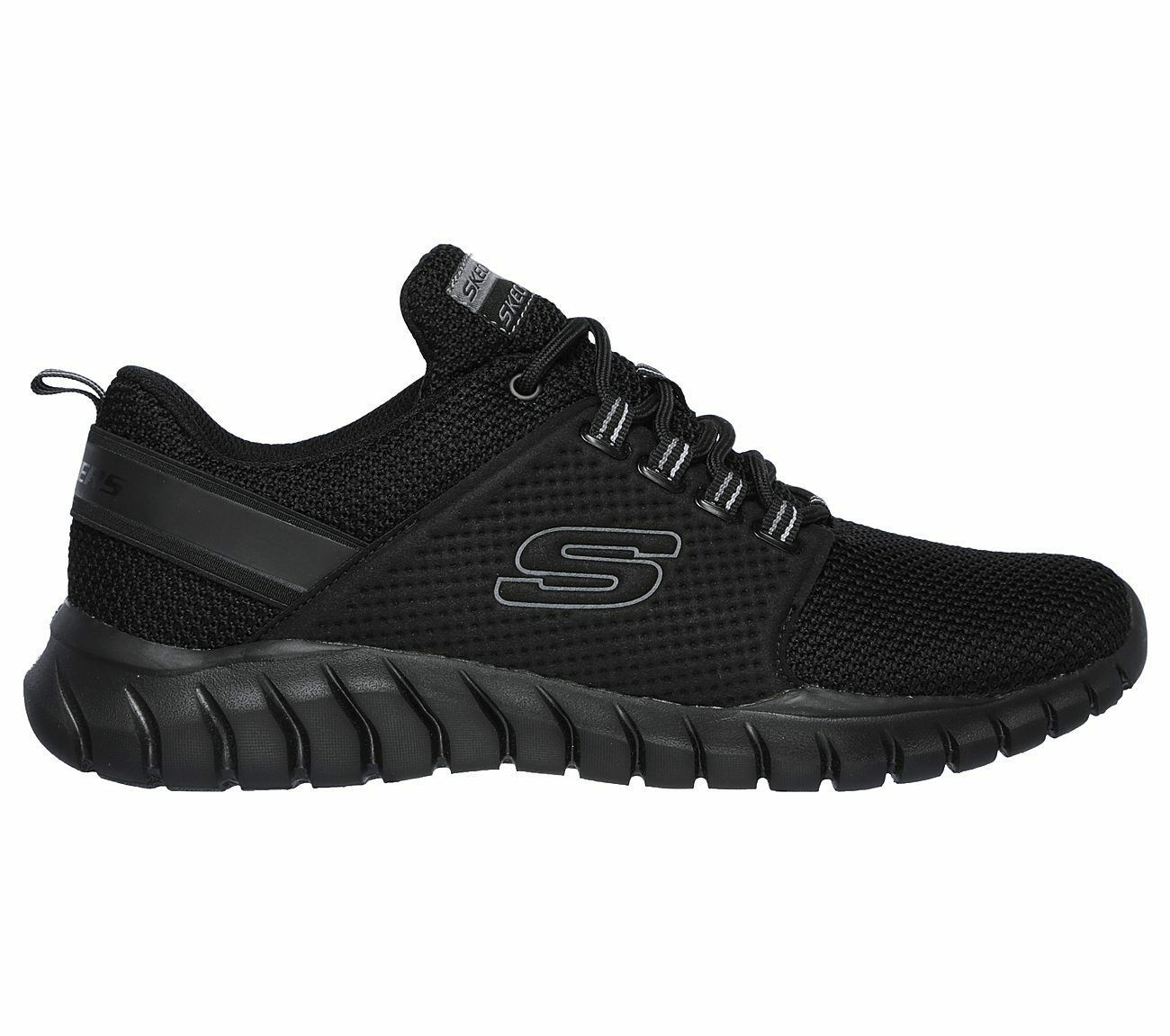 52821 Wide Fit Black Skechers shoe Men Memory Foam Sport Comfort Train Walk Mesh image 2