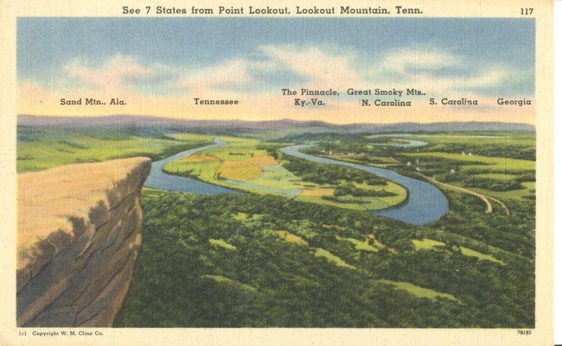 See 7 States from Point Lookout, Lookout Mountains, Tennessee, unused Postcard