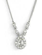 GIVENCHY Pave Clear Crystal Pear Shaped Pendant Silver-Tone Necklace - $28.79