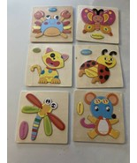 Wooden Puzzles for Toddlers Children 6 Pack- Crab Butterfly beetle cat D... - $24.16