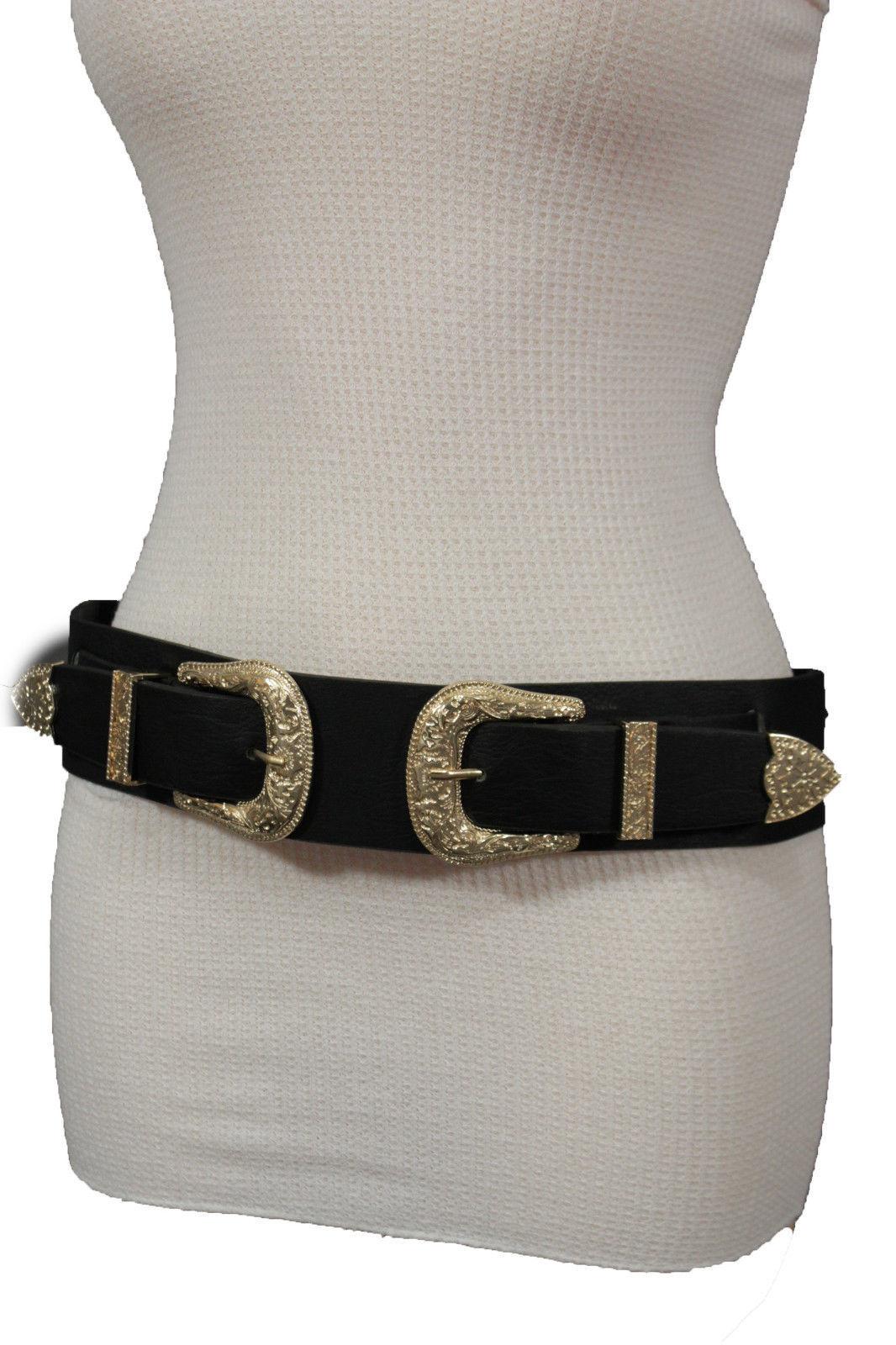 Damen West Doppel Gold Schnallen Mode Schwarzer Gürtel Elastisch Hüfte Taille So
