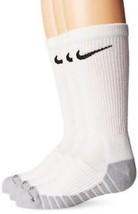 Nike SX5572-100 Dry Cushioned Dri-Fit White Crew Socks 3 Pairs Youth 3Y-5Y - $12.19