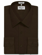 Berlioni Italy Men's Long Sleeve Solid Regular Fit Brown Dress Shirt - M