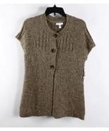 Charter Club Oatmeal Peach combo Crochet Knit 3 Button Sweater Top SzS - $7.99