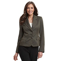 NWT EVAN PICONE BROWN CAREER HERRINGBONE PRINTED BLAZER SIZE 8 $119 - $23.74