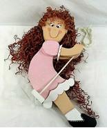 Girl on a Swing Wooden Curly Hair Nursery Daycare Yard Décor Handmade - $34.64