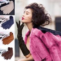 Women Gloves Pigskin Suede Genuine Leather Folded Long Ladies Classic Mi... - $43.98+
