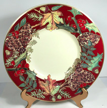 """Crate & Barrel Holiday Holly berries shallow serving bowl 16"""" ceramic pa... - $99.25"""