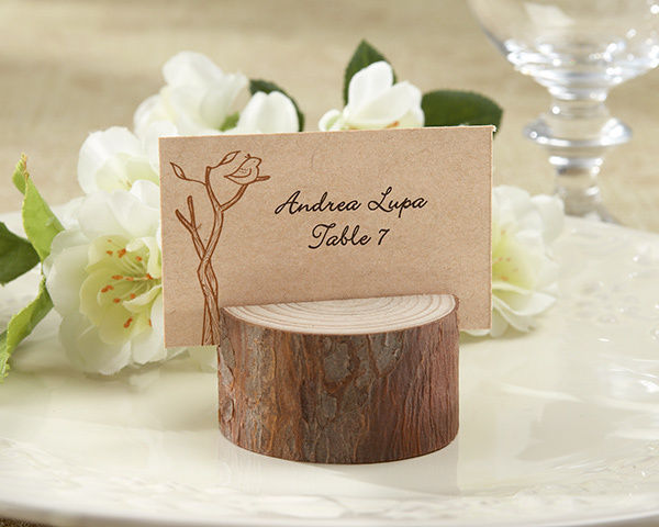 100 Rustic Spring Forest Wood Photo Place Card Holder Wedding Favor with Cards